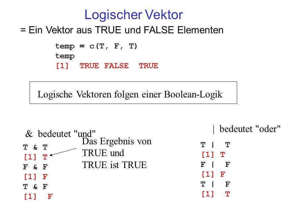 Logischer Vektor = Ein Vektor aus TRUE und FALSE Elementen