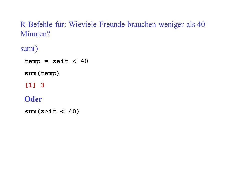 R-Befehle für: Wieviele Freunde brauchen weniger als 40 Minuten sum()