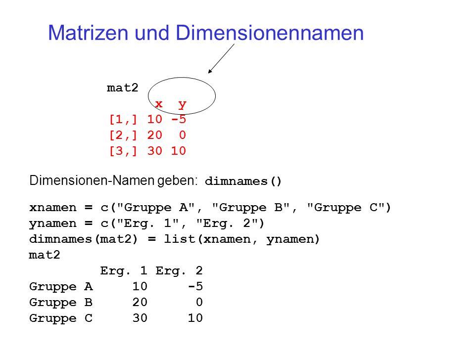 Matrizen und Dimensionennamen