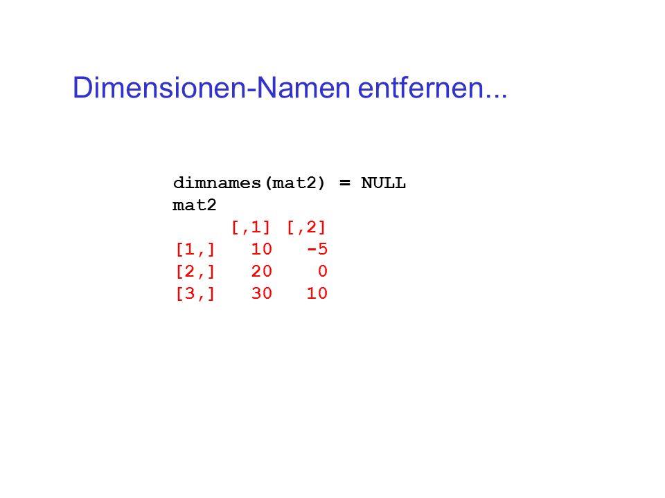 Dimensionen-Namen entfernen...