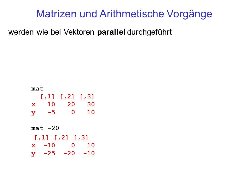 Matrizen und Arithmetische Vorgänge
