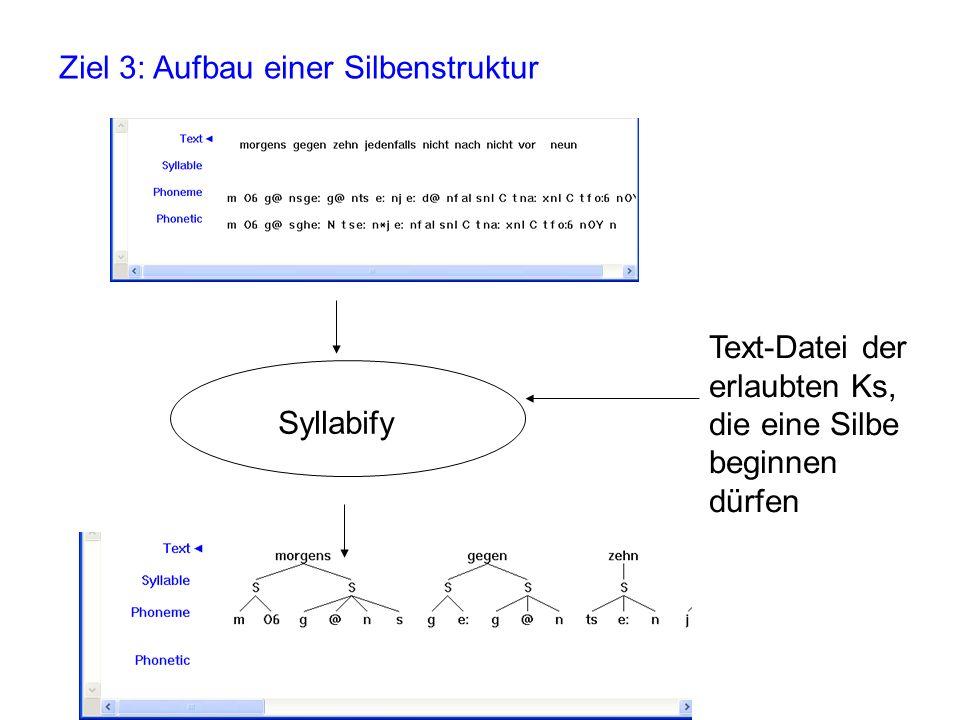 Ziel 3: Aufbau einer Silbenstruktur