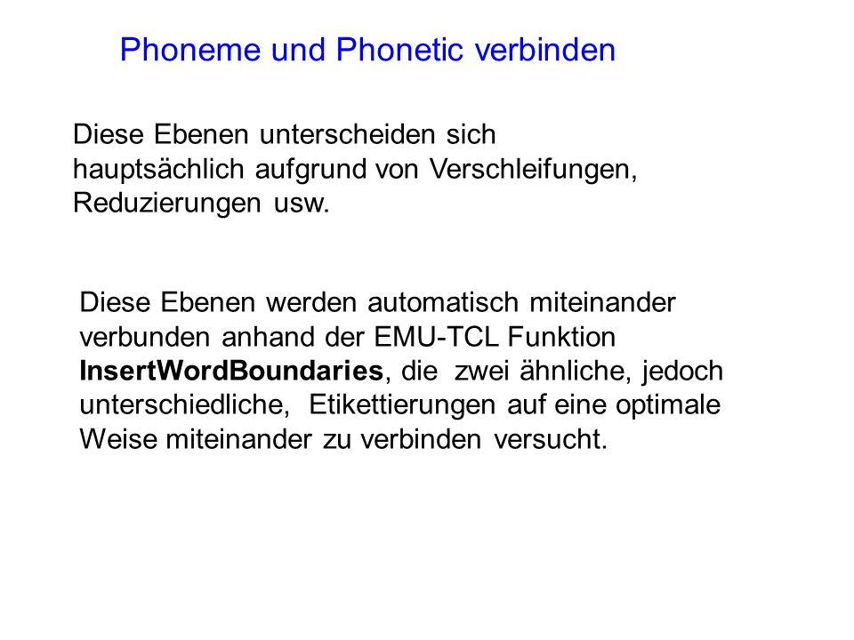 Phoneme und Phonetic verbinden
