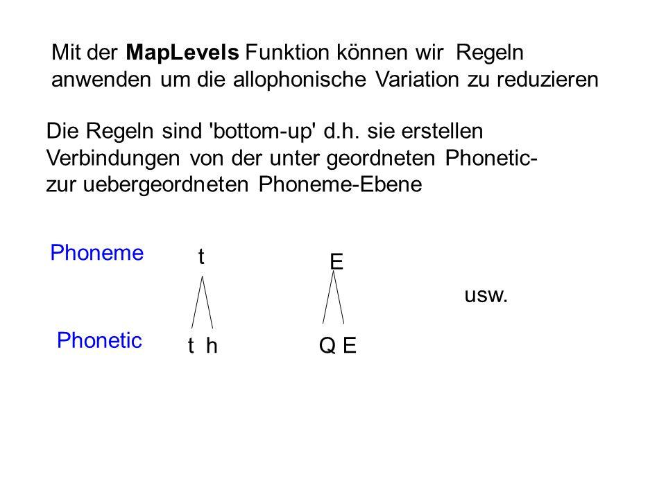 Mit der MapLevels Funktion können wir Regeln anwenden um die allophonische Variation zu reduzieren