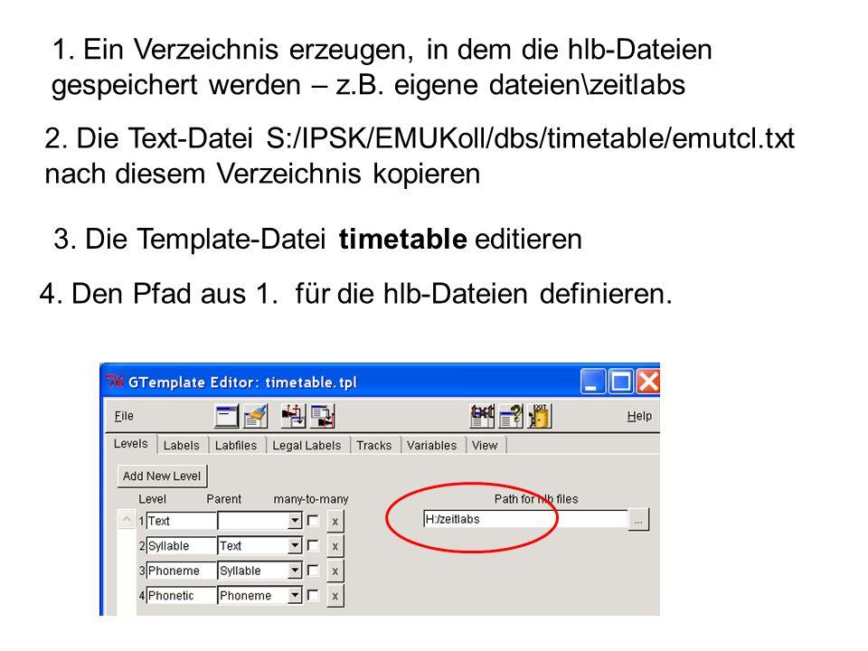 1. Ein Verzeichnis erzeugen, in dem die hlb-Dateien gespeichert werden – z.B. eigene dateien\zeitlabs