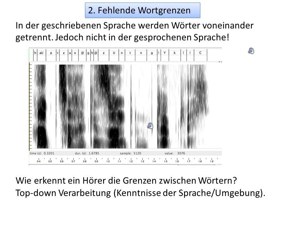 2. Fehlende Wortgrenzen In der geschriebenen Sprache werden Wörter voneinander getrennt. Jedoch nicht in der gesprochenen Sprache!