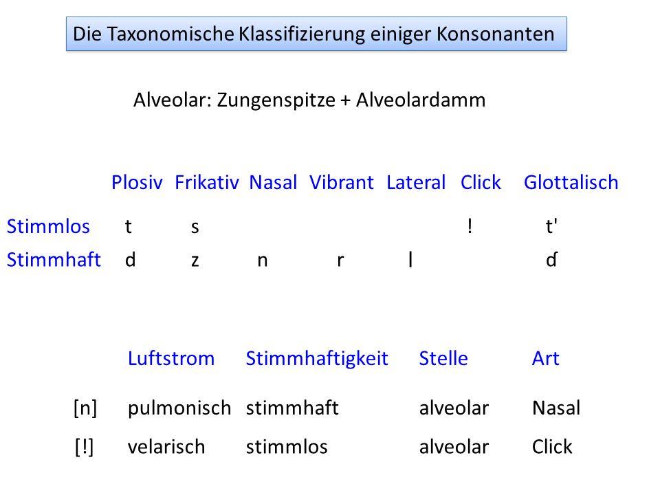 Die Taxonomische Klassifizierung einiger Konsonanten