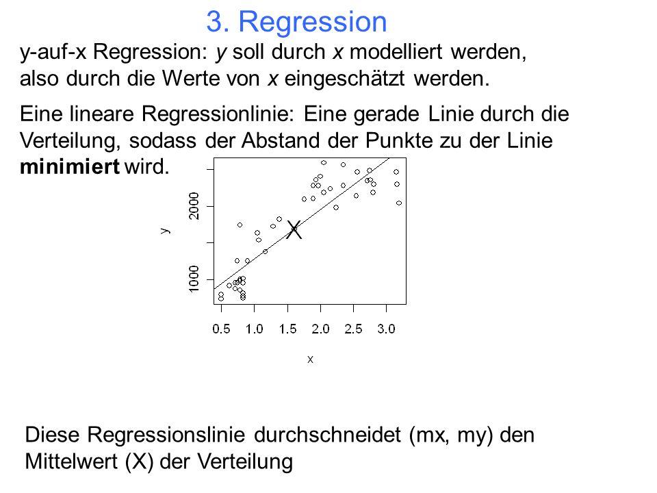 3. Regressiony-auf-x Regression: y soll durch x modelliert werden, also durch die Werte von x eingeschätzt werden.