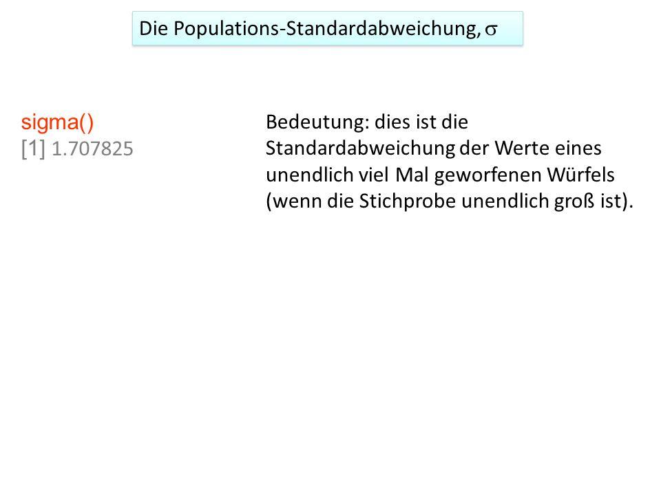 Die Populations-Standardabweichung, s
