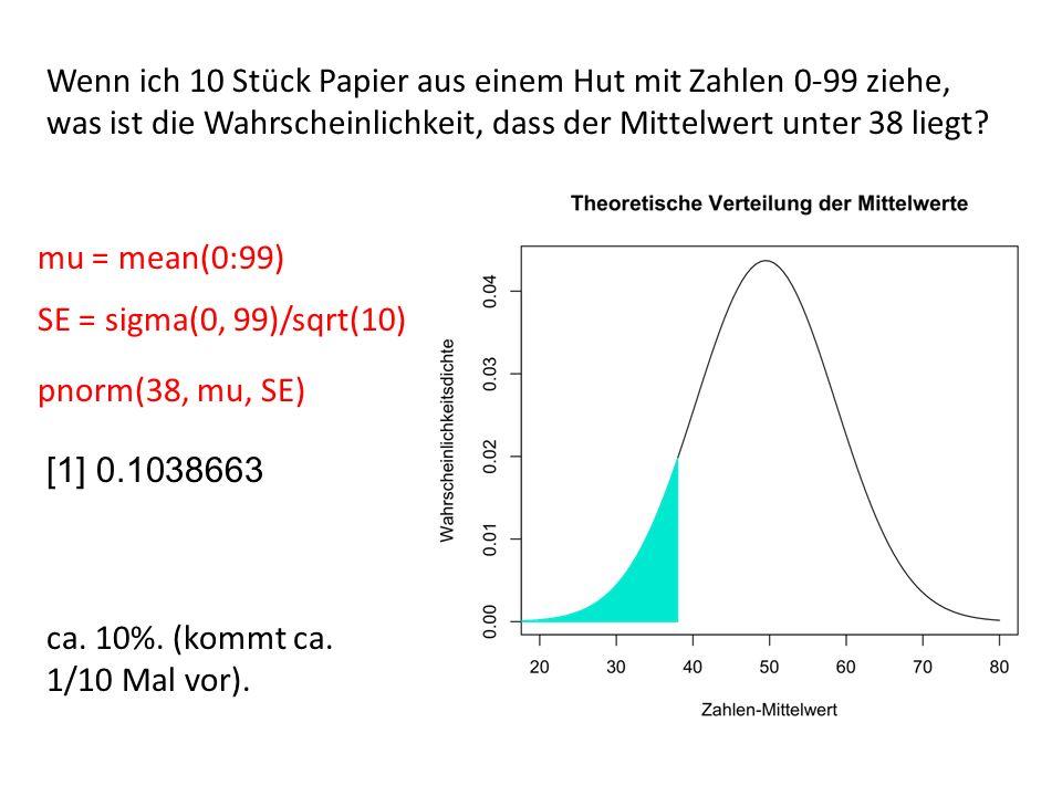 Wenn ich 10 Stück Papier aus einem Hut mit Zahlen 0-99 ziehe, was ist die Wahrscheinlichkeit, dass der Mittelwert unter 38 liegt