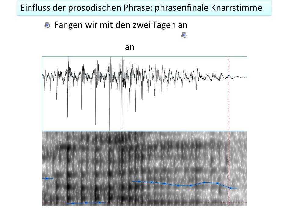 Einfluss der prosodischen Phrase: phrasenfinale Knarrstimme