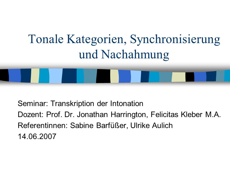 Tonale Kategorien, Synchronisierung und Nachahmung