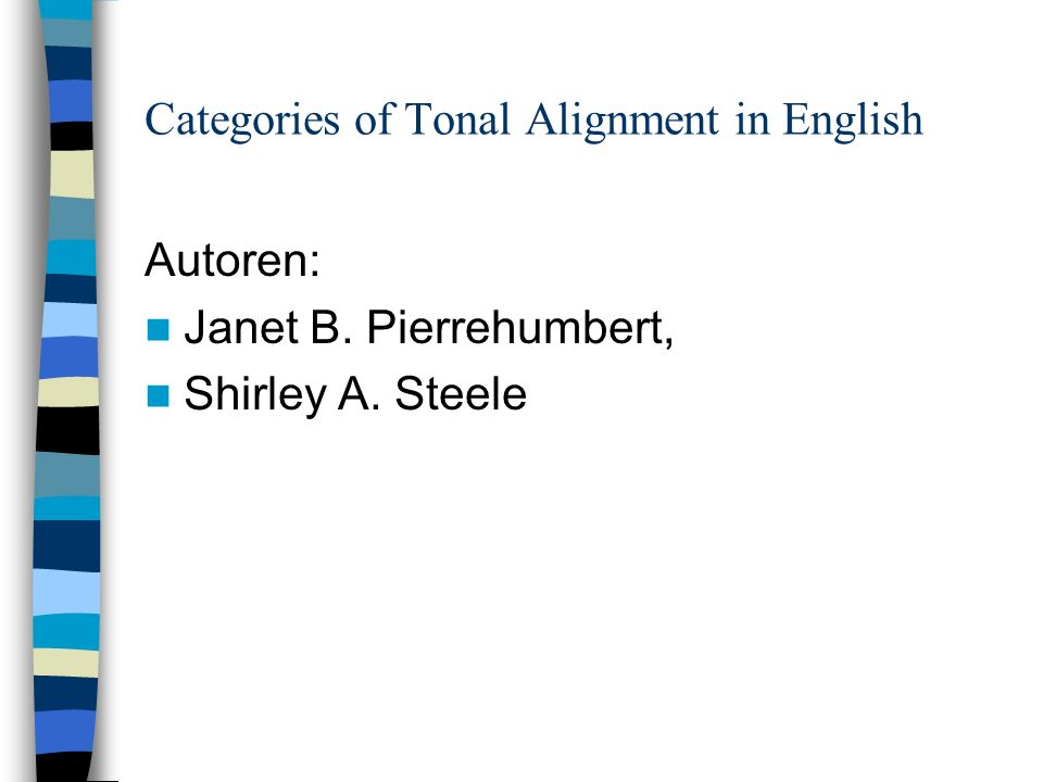 Categories of Tonal Alignment in English