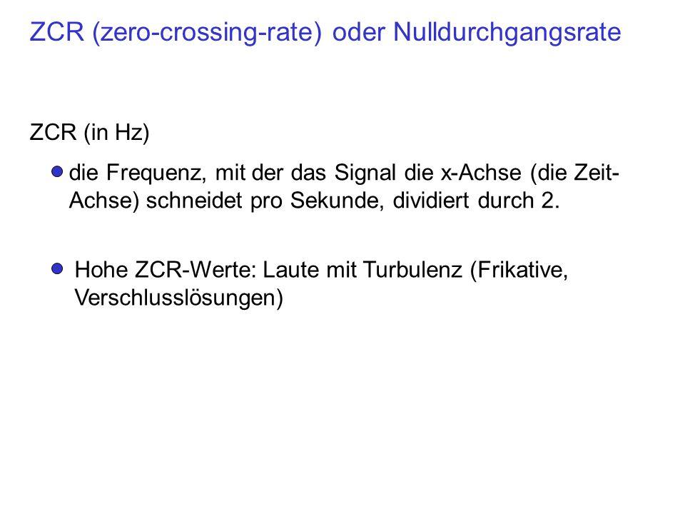 ZCR (zero-crossing-rate) oder Nulldurchgangsrate
