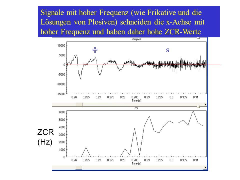 Signale mit hoher Frequenz (wie Frikative und die Lösungen von Plosiven) schneiden die x-Achse mit hoher Frequenz und haben daher hohe ZCR-Werte