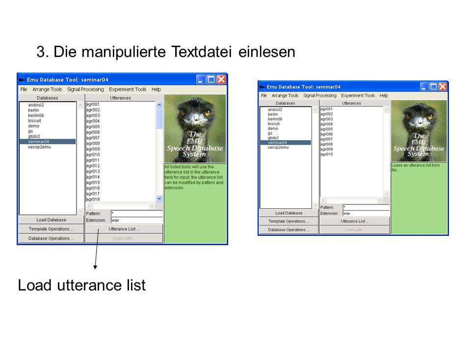 3. Die manipulierte Textdatei einlesen