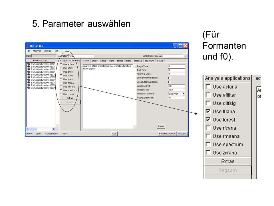 5. Parameter auswählen (Für Formanten und f0).