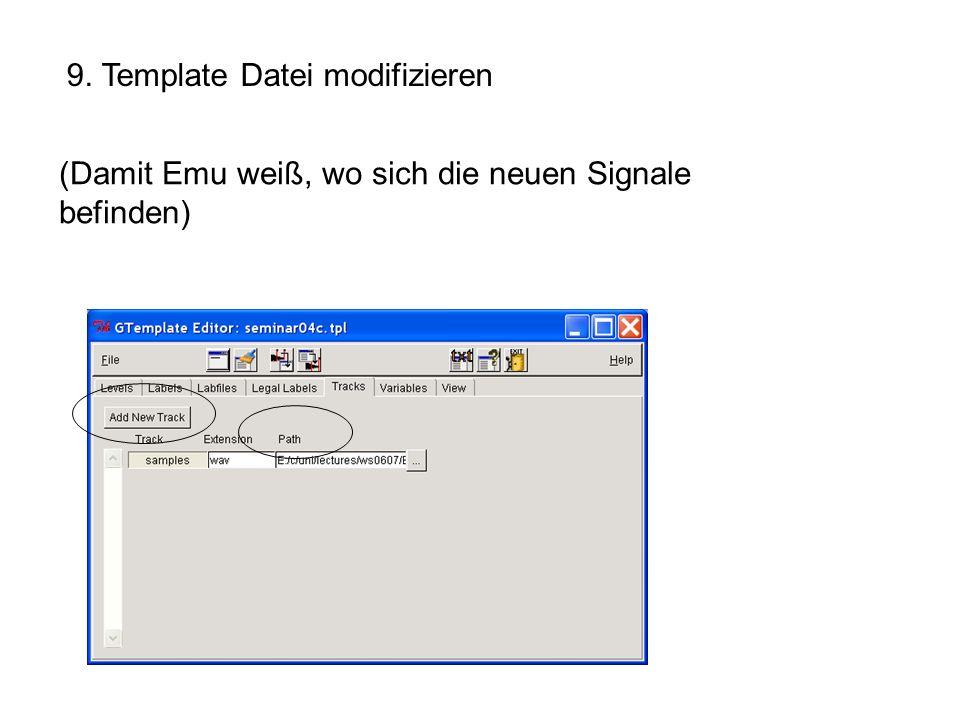 9. Template Datei modifizieren