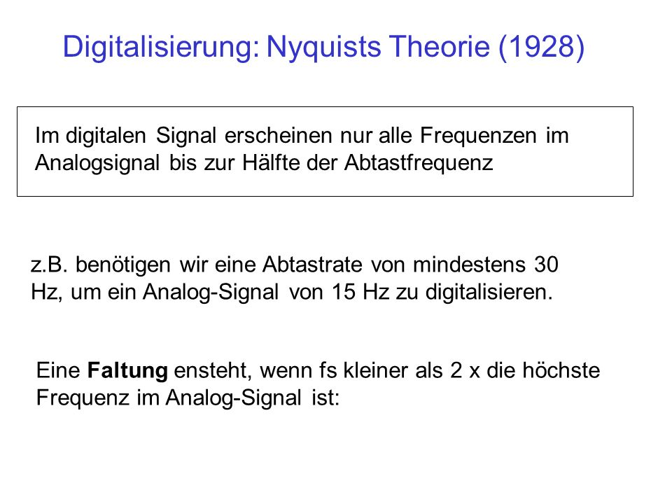 Digitalisierung: Nyquists Theorie (1928)