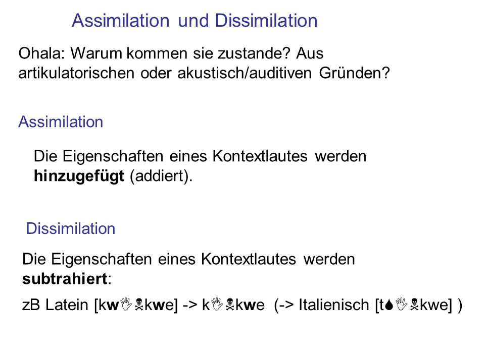 Assimilation und Dissimilation