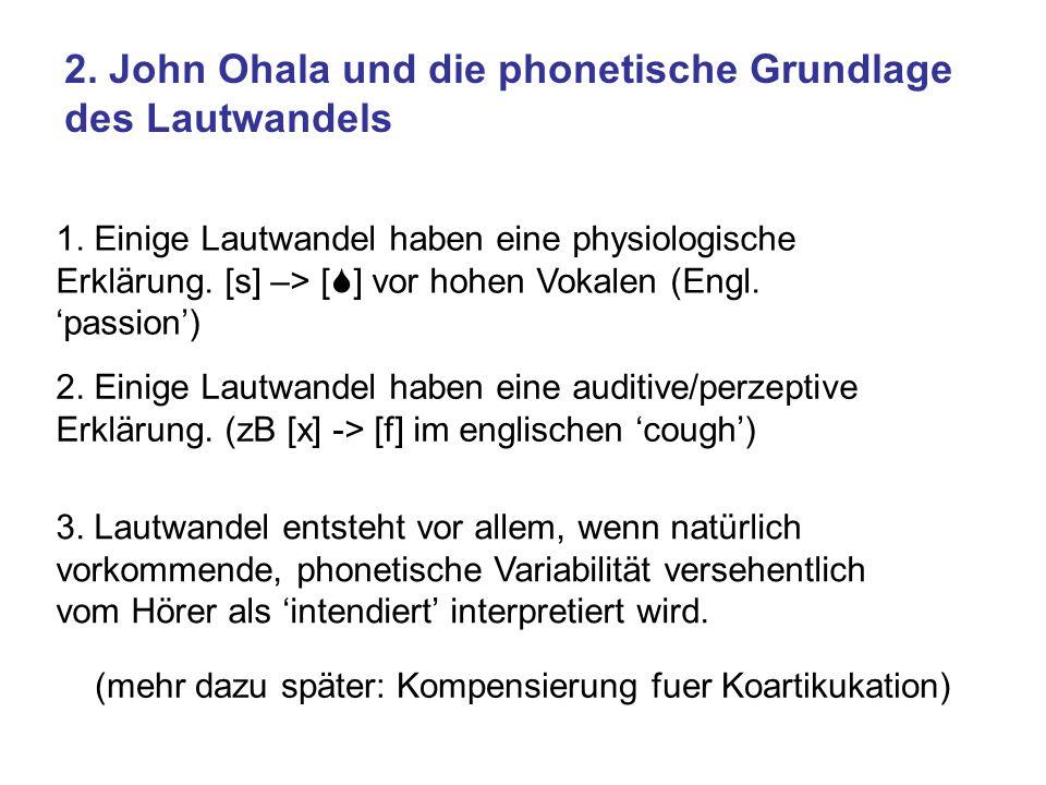 2. John Ohala und die phonetische Grundlage des Lautwandels