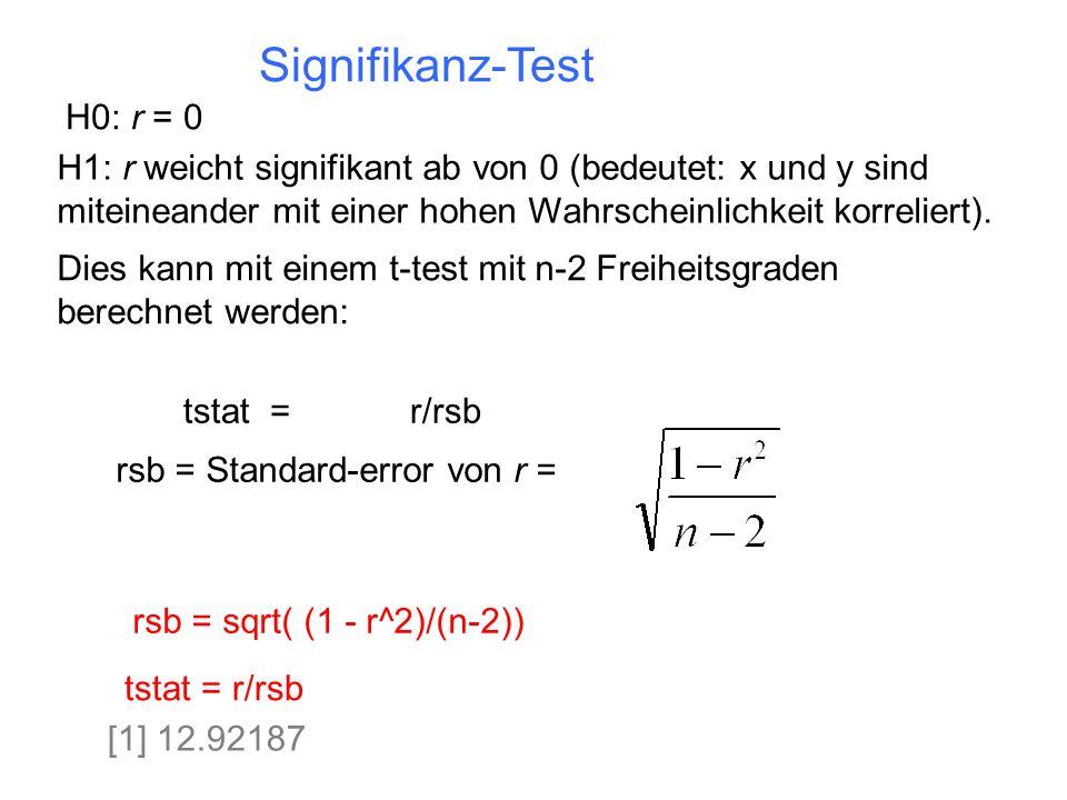 Signifikanz-Test H0: r = 0