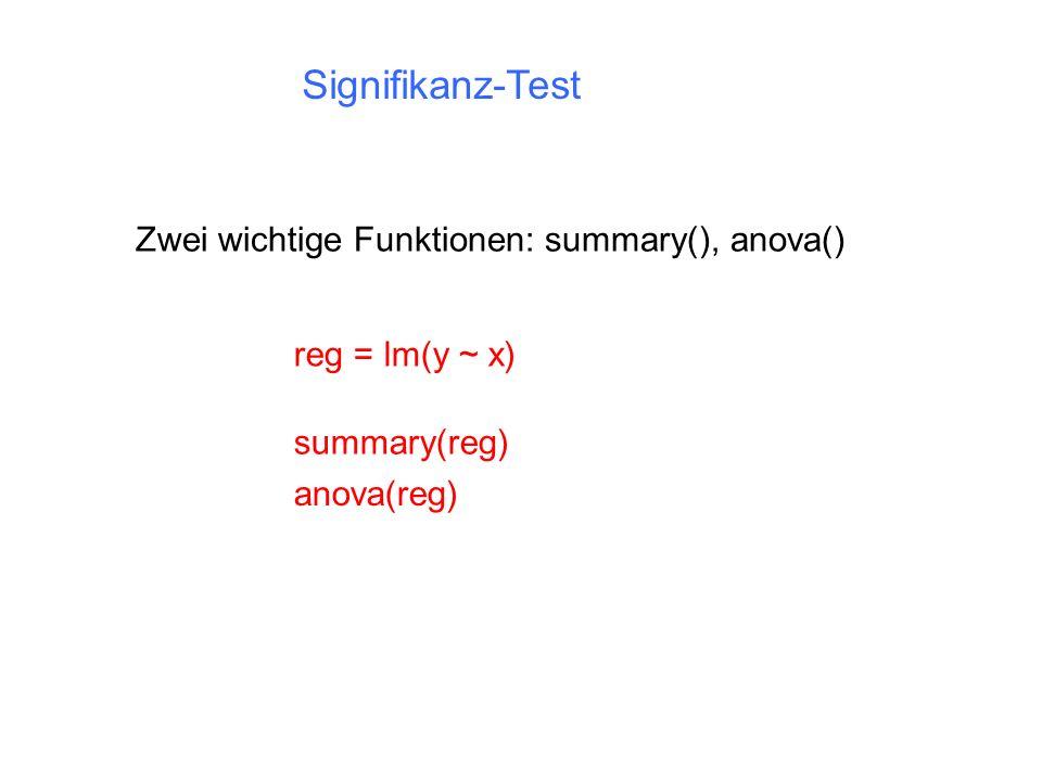 Signifikanz-Test Zwei wichtige Funktionen: summary(), anova()