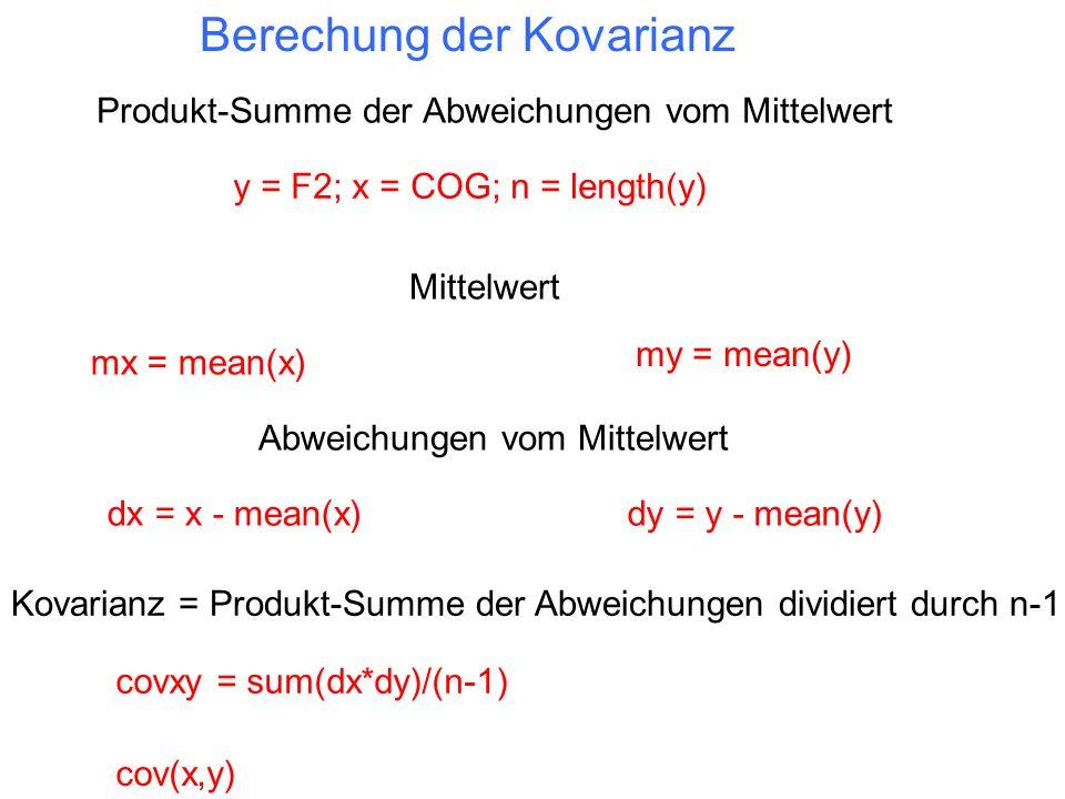 Berechung der Kovarianz