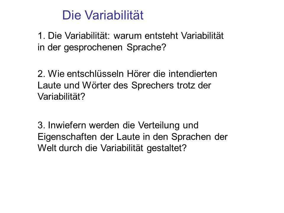 Die Variabilität 1. Die Variabilität: warum entsteht Variabilität in der gesprochenen Sprache