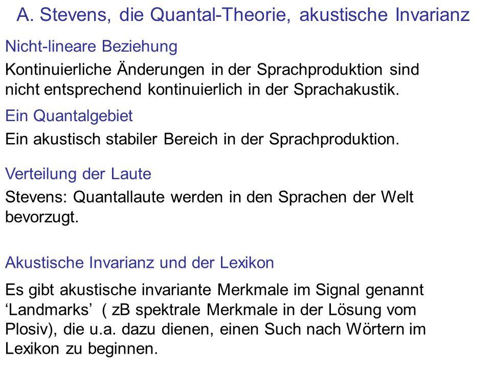 A. Stevens, die Quantal-Theorie, akustische Invarianz