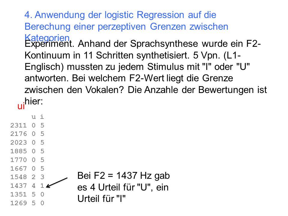 Bei F2 = 1437 Hz gab es 4 Urteil für U , ein Urteil für I