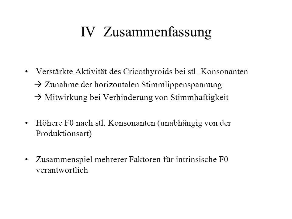 IV Zusammenfassung Verstärkte Aktivität des Cricothyroids bei stl. Konsonanten.  Zunahme der horizontalen Stimmlippenspannung.