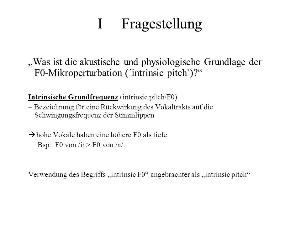 """I Fragestellung """"Was ist die akustische und physiologische Grundlage der F0-Mikroperturbation (´intrinsic pitch`)"""