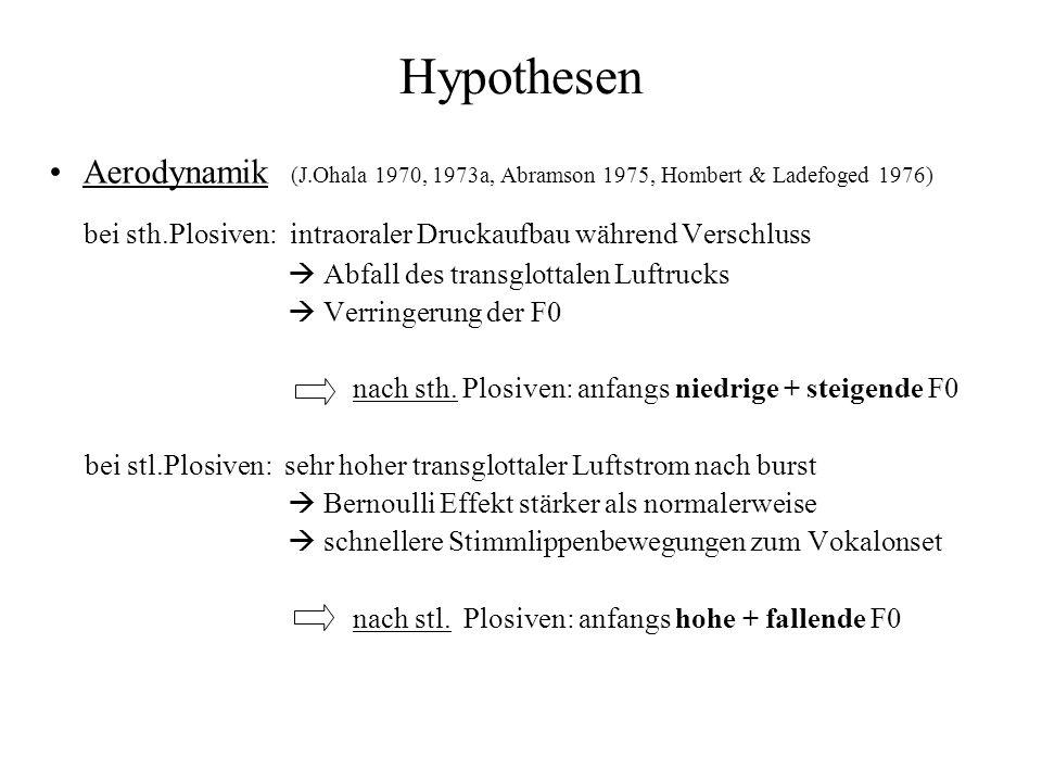Hypothesen Aerodynamik (J.Ohala 1970, 1973a, Abramson 1975, Hombert & Ladefoged 1976) bei sth.Plosiven: intraoraler Druckaufbau während Verschluss.