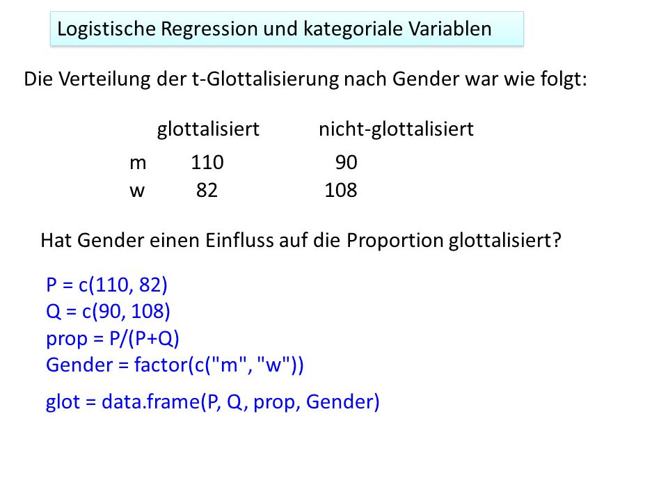 Logistische Regression und kategoriale Variablen