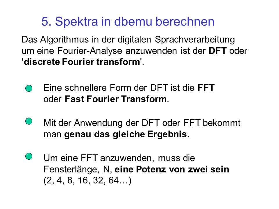 5. Spektra in dbemu berechnen
