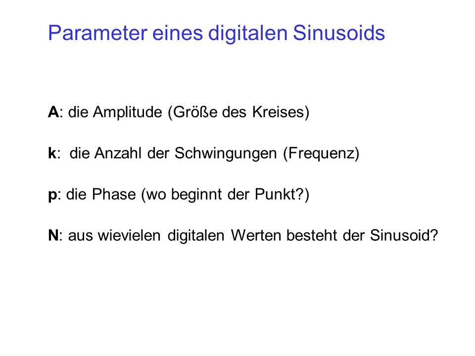 Parameter eines digitalen Sinusoids