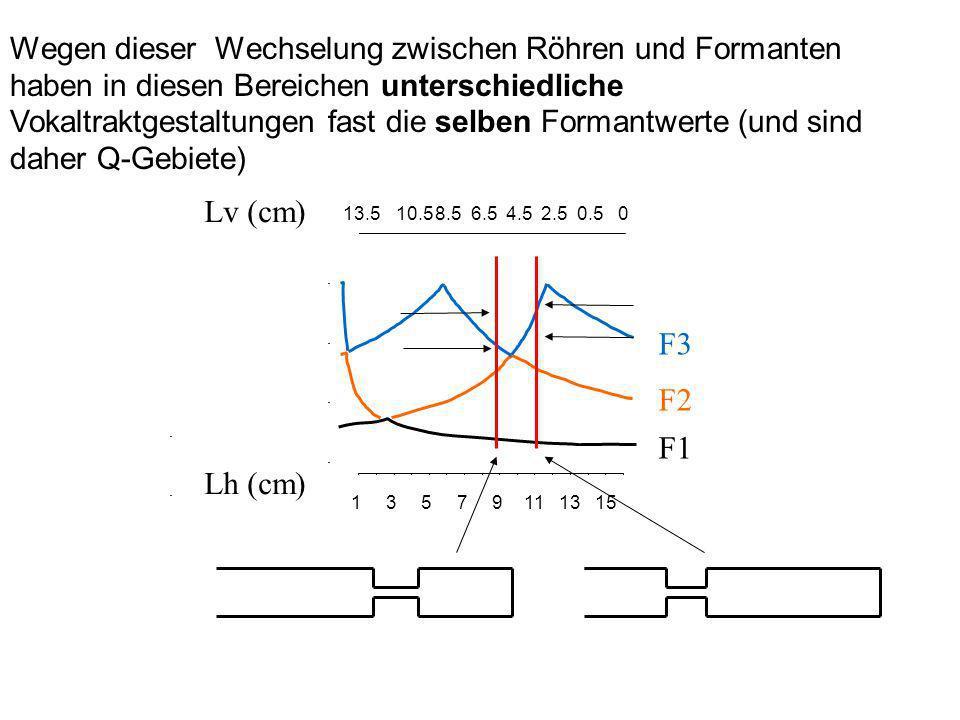 Wegen dieser Wechselung zwischen Röhren und Formanten haben in diesen Bereichen unterschiedliche Vokaltraktgestaltungen fast die selben Formantwerte (und sind daher Q-Gebiete)