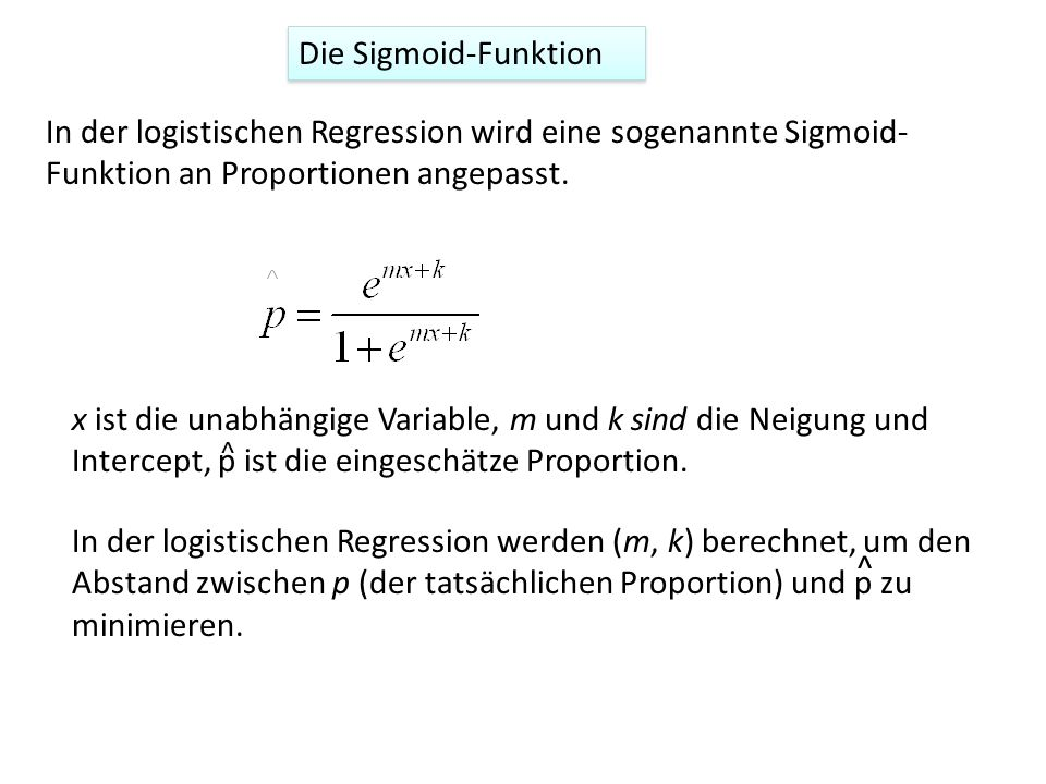 Die Sigmoid-Funktion In der logistischen Regression wird eine sogenannte Sigmoid-Funktion an Proportionen angepasst.