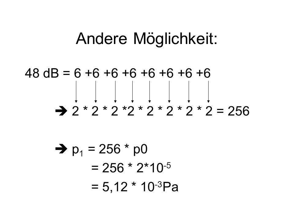 Andere Möglichkeit: 48 dB = 6 +6 +6 +6 +6 +6 +6 +6