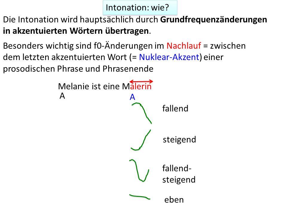 Intonation: wie Die Intonation wird hauptsächlich durch Grundfrequenzänderungen in akzentuierten Wörtern übertragen.