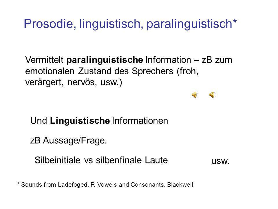 Prosodie, linguistisch, paralinguistisch*