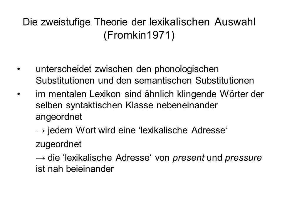 Die zweistufige Theorie der lexikalischen Auswahl (Fromkin1971)