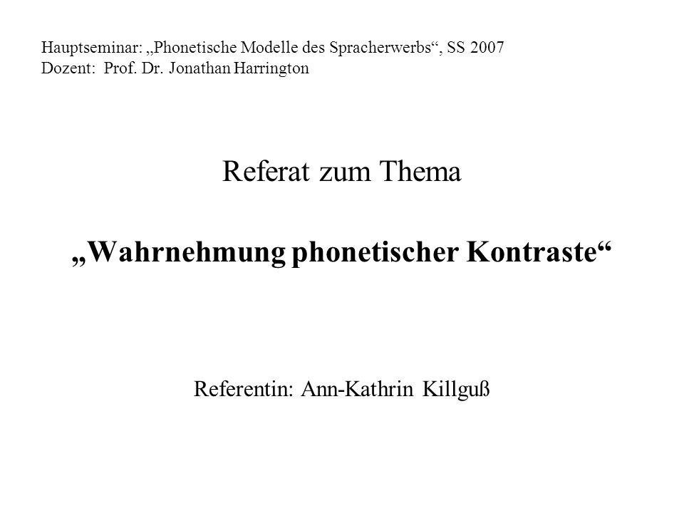 """""""Wahrnehmung phonetischer Kontraste"""