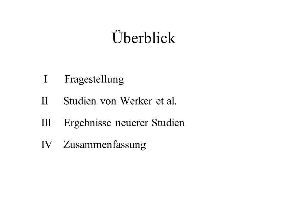 Überblick I Fragestellung II Studien von Werker et al.