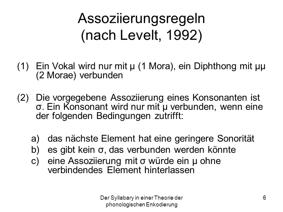 Assoziierungsregeln (nach Levelt, 1992)