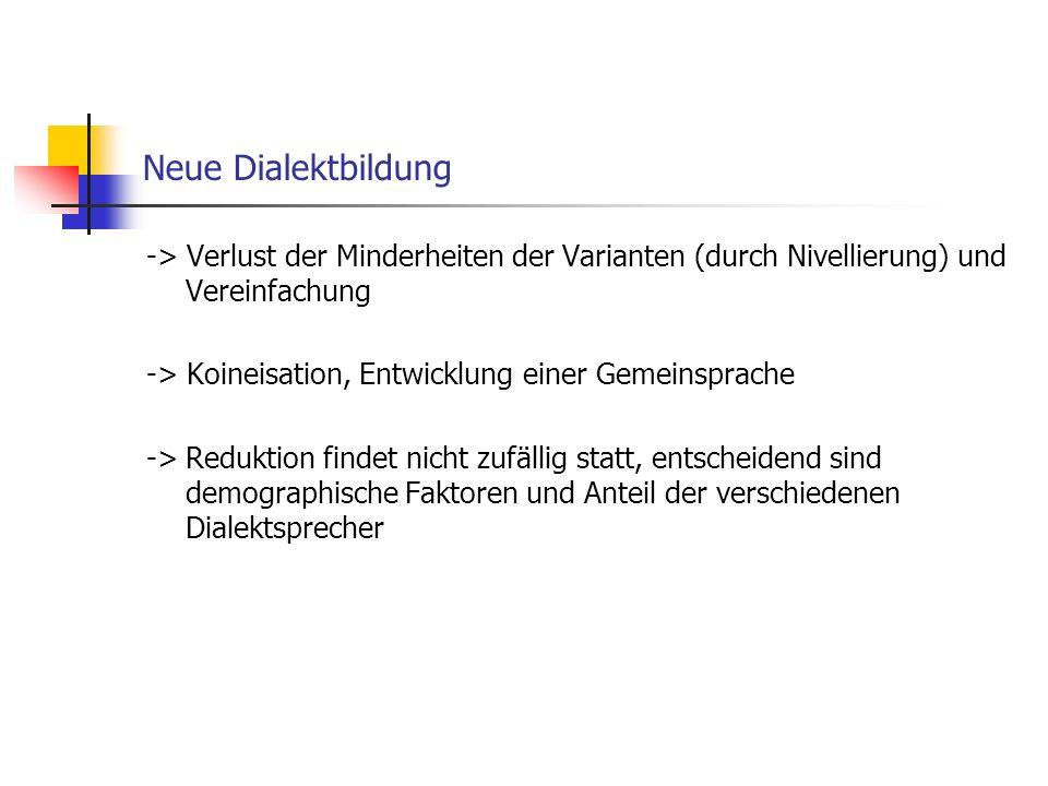 Neue Dialektbildung -> Verlust der Minderheiten der Varianten (durch Nivellierung) und Vereinfachung.