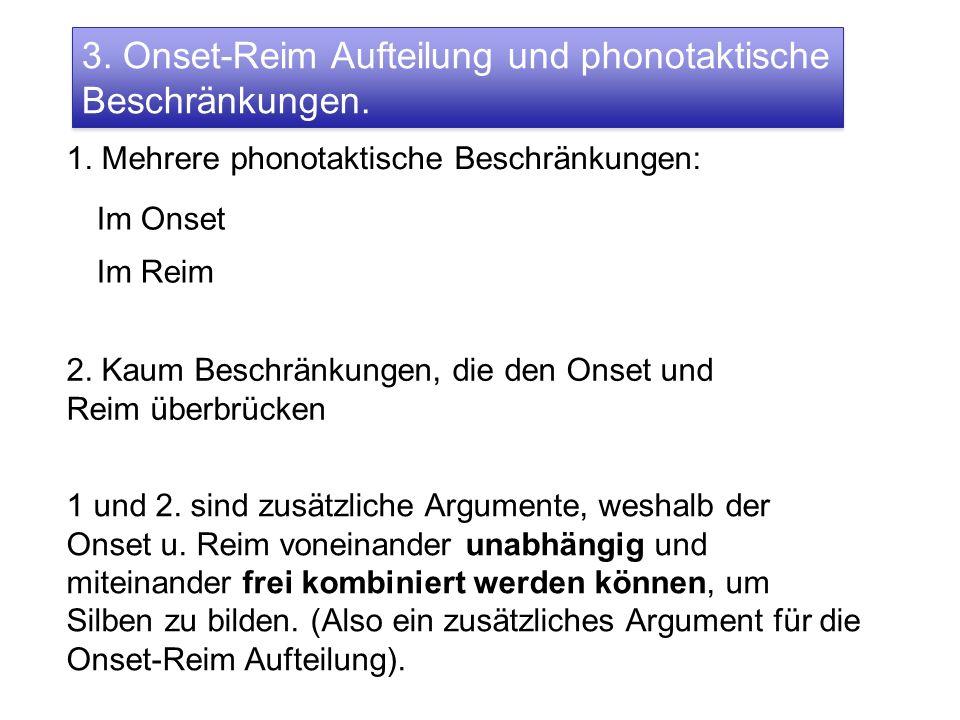 3. Onset-Reim Aufteilung und phonotaktische Beschränkungen.