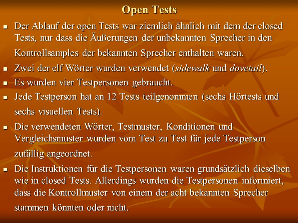 Open Tests