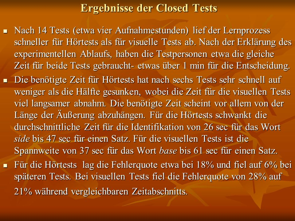 Ergebnisse der Closed Tests